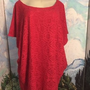 Faded Glory Red Lace Front Short Sleeve Tunic Top
